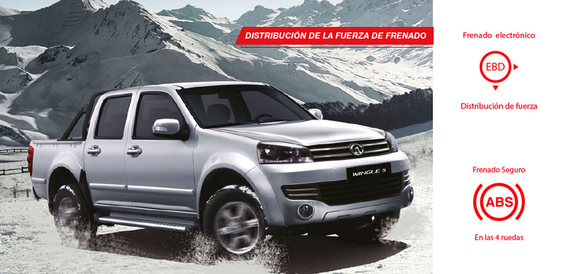 Camioneta Great Wall Wingle 5 2.4 ABS y EBD Distribución de la fuerza de frenado