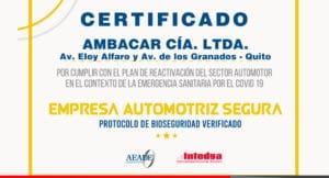 Ambacar certificado como empresa automotriz segura
