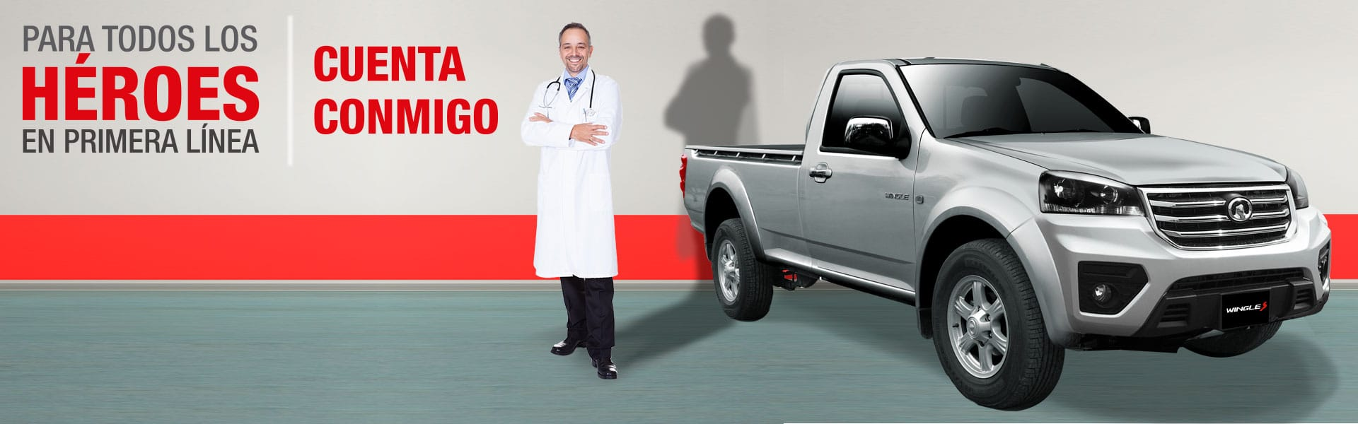 Campaña cuenta conmigo, médicos ecuatorianos camioneta Ambacar Great Wall cabina simple Wingle 5 motor a gasolina