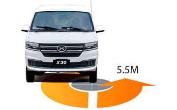 Van Shineray X30 de carga con ángulo de giro